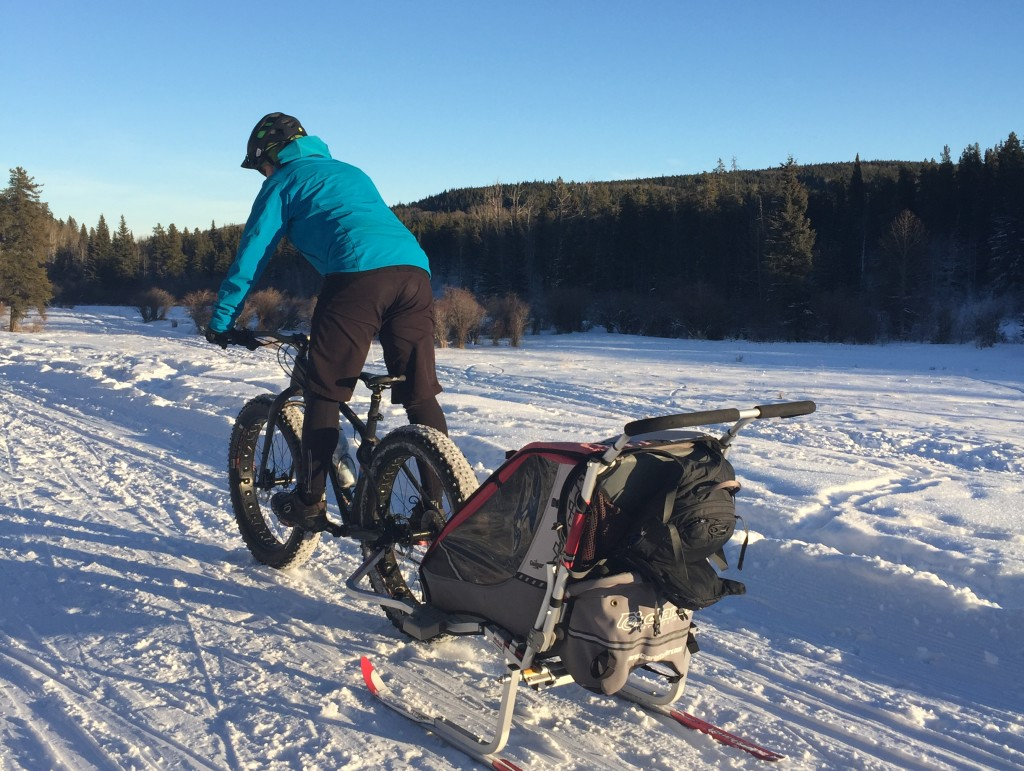 Winter Fat Biking With A Kids Trailer On Skis The Bike Dads